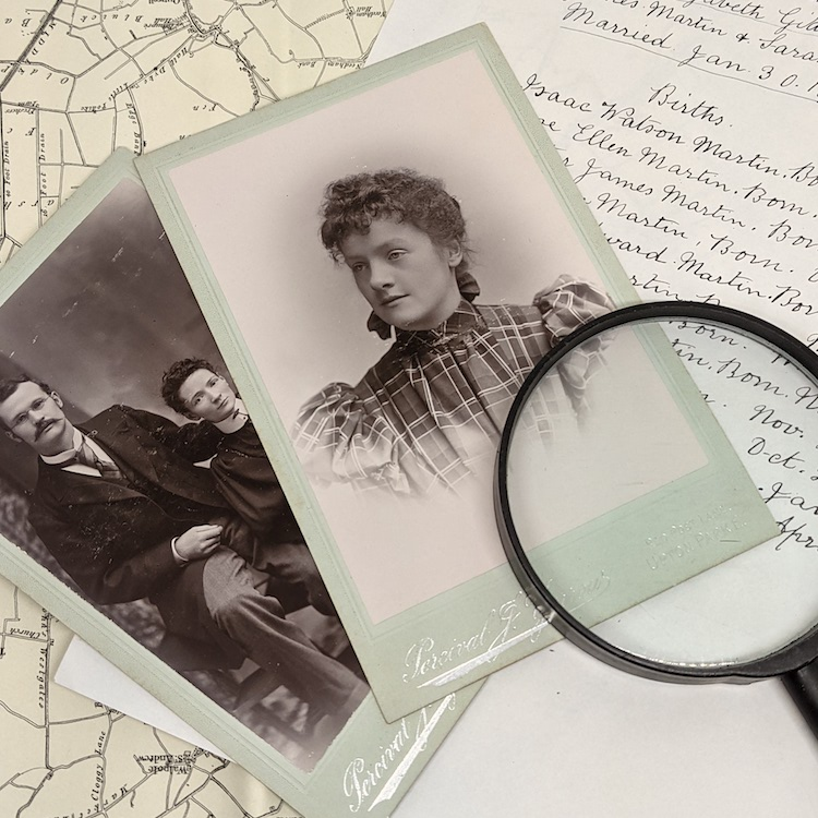 victorian studio photographs with a map and old handwriting